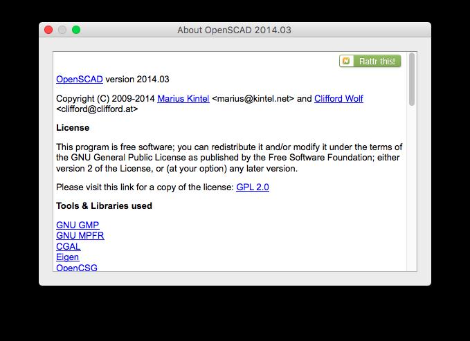 Detalle de la licencia GPLv2 que utiliza el software OpenSCAD